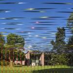 Zilvinas Kempinas, Kakashi, 2012 Snowpoles, bird repellent tape © Installation view at the Museum Tinguely park, Basel 2013 Photo: Daniel Spehr