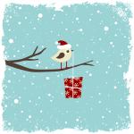 Illustration: Ein Vogel bringt ein Weihnachtspäckchen
