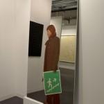 Michelangelo Pistoletto: La ragazza della scala, 1962-2005, facing Lucio Fontana: Conzetto spaziale, 1954. Galleria Tega @ Art Basel 2015