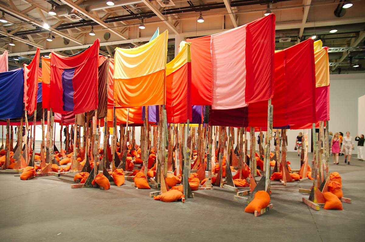 Phyllida Barlow: untitled: 100banners2015, 2015. Installation view @ Art Basel Unlimited 2017